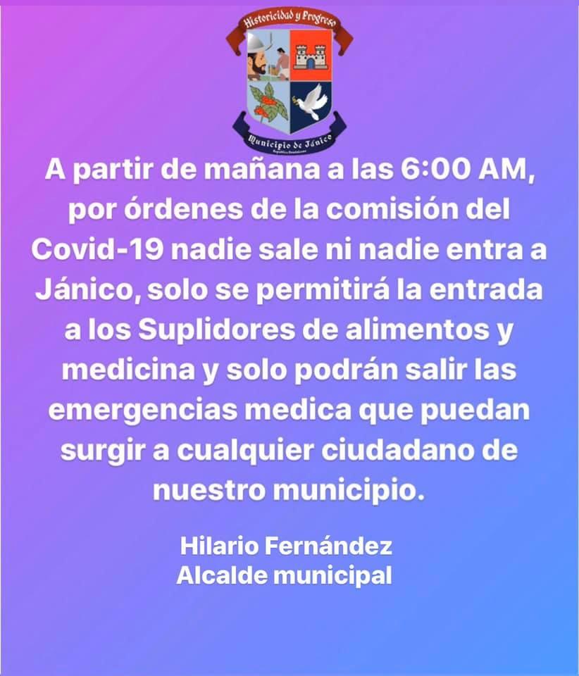 Cierre del municipio por pandemia Covid-19